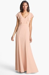 Women's Jenny Yoo 'Cecilia' Ruffled Chiffon Long Dress Blush