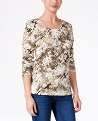 Karen Scott Printed Long Sleeve Top Only At Macy's New Khaki