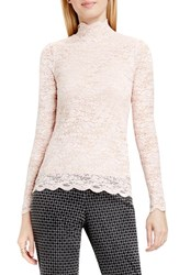 Vince Camuto Women's Scallop Lace Mock Neck Top Rosy Flush