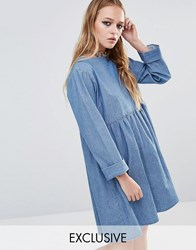 Reclaimed Vintage Denim Smock Dress Blue