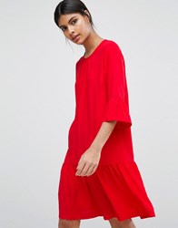 Y.A.S Dress With Frill Hem Red