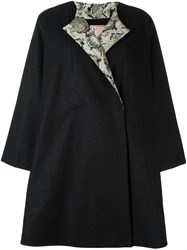 Antonio Marras Back Floral Applique Coat Black
