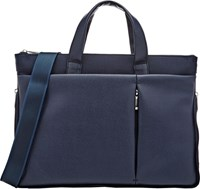 Barneys New York Nylon And Saffiano Expandable Slim Briefcase Blue