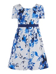 Persona Short Sleeved Floral Printed Fit And Flare Dress Multi Coloured