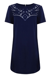 Warehouse Embroidered Organza Dress Navy