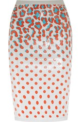 Sibling Sequined Printed Jersey Pencil Skirt Orange