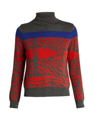 Kolor Zebra Intarsia Wool Sweater Grey Multi