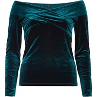River Island Womens Green Velvet Bardot Wrap Top