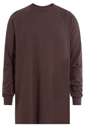Rick Owens Men Long Sleeve Cotton Top Brown