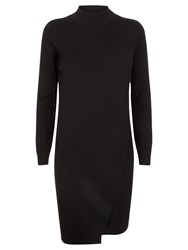 Jaeger Wool Layered Knitted Dress Black