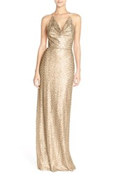 Women's Amsale Draped Sequin Tulle Halter Gown Gold