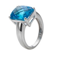 London Road 9Ct White Gold Cushion Blue Topaz Ring White Gold Blue