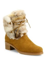 Stuart Weitzman Furnace Mink Fur And Suede Lace Up Booties Camel