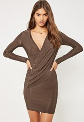 Missguided Brown Silky Wrap Bodycon Dress Chocolate