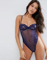 Asos Cacey Fishnet And Lace Underwire Thong Body Navy