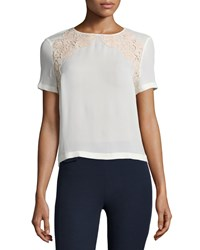 Tory Burch Short Sleeve Lace Trim Tee Women's New Ivory