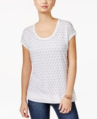 Tommy Hilfiger Printed Scoop Neck T Shirt White