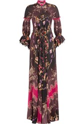 Etro Floor Length Printed Silk Gown Multicolor