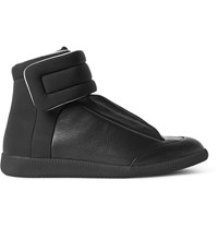Maison Martin Margiela Future Full Grain Leather And Neoprene High Top Sneakers Black