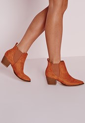 Missguided Pointed Toe Chelsea Boots Tan Brown