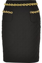 Moschino Chain Trimmed Quilted Crepe Skirt Black