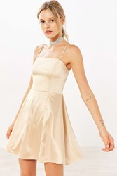 Kimchi And Blue Satin Straight Neck Fit Flare Mini Dress Beige