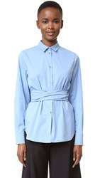 Rochas Wrap Blouse Medium Blue