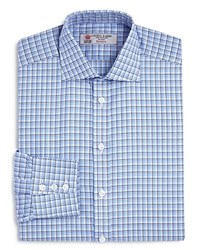 Turnbull And Asser Textured Check Classic Fit Dress Shirt Blue Navy