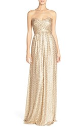 Women's Amsale Strapless Sequin Tulle Gown