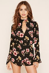 Forever 21 Keyhole Cutout Floral Romper