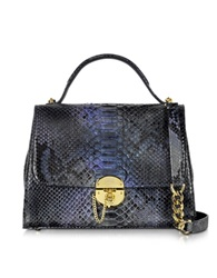 Ghibli Dark Blue Python Satchel Bag W Detachable Shoulder Strap