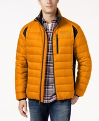 Free Country Men's Tech Panel Down Puffer Coat Bright Orange