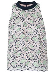French Connection Boccara Lace Sleeveless Top Mineral Green Multi