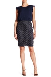Amanda And Chelsea Bias Plaid Ponte Pencil Skirt Gray