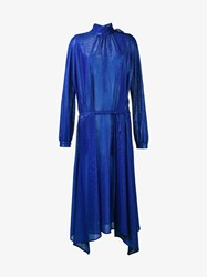 Golden Goose Lurex Long Sleeve Dress Blue Golden Red