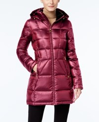 Calvin Klein Hooded Packable Down Puffer Coat Ruby Red