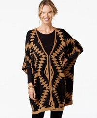 Ny Collection Oversize Aztec Print Poncho Cardigan Black Tan