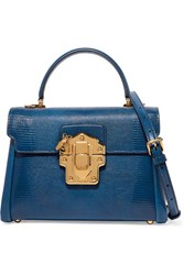 Dolce And Gabbana Lucia Medium Lizard Effect Leather Shoulder Bag Blue