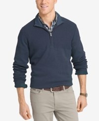 Izod Men's Dual Texture Quarter Zip Sweater Anchor