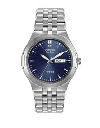 Citizen Mens Eco Drive Stainless Steel Watch With Blue Dial Grey