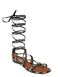 Valentino Primitive Print Leather Lace Up Sandals