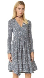 Rebecca Taylor Long Sleeve Lavish Grid Dress Forest Combo