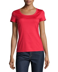 Lafayette 148 New York Short Sleeve Scoop Neck Tee Dynamite