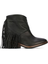 Cinzia Araia Fringed Ankle Boots Black
