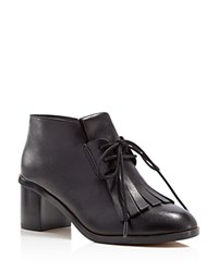 French Connection Clair Kilted Fringe Lace Up Mid Heel Booties Black