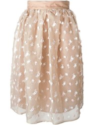 Si Jay Sheer Flower Embellished Skirt Nude And Neutrals