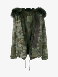 Mr And Mrs Italy Raccoon Fur Trimmed Camouflage Midi Parka Black Purple Green Brown Khaki Green