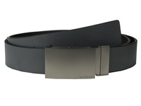 Calvin Klein 38Mm Reversible Flat Strap Smooth Leather W Embossed Lines Grey Black Men's Belts Gray