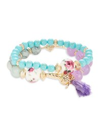 Cara Two Row Beaded Stretch Bracelet Turquoise