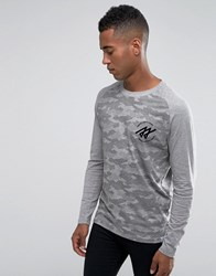 Jack And Jones Longsleeve Camo Raglan T Shirt Grey
